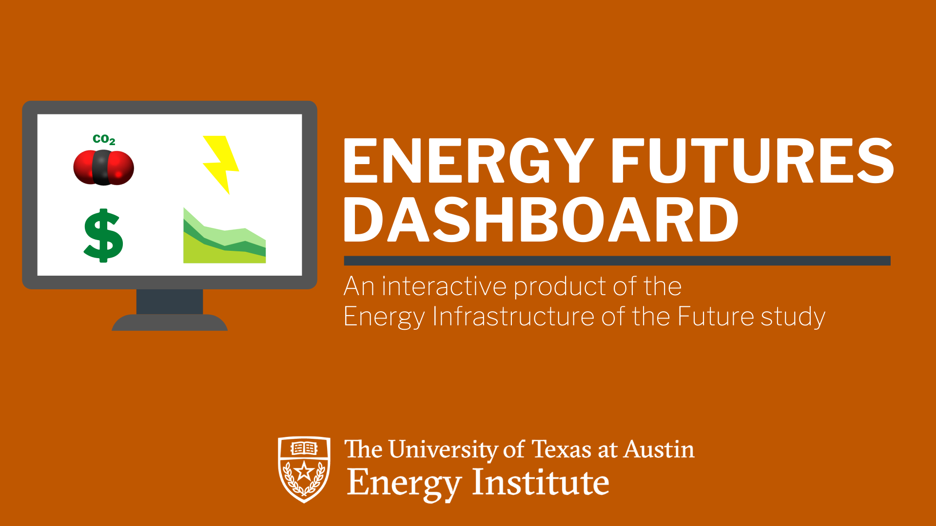 "graphic illustrating a web dashboard comprised of charts, a CO2 molecule, land lightening bolt; ""Energy Futures Dashboard--An interactive product of the Energy Infrastructure of the Future study"""