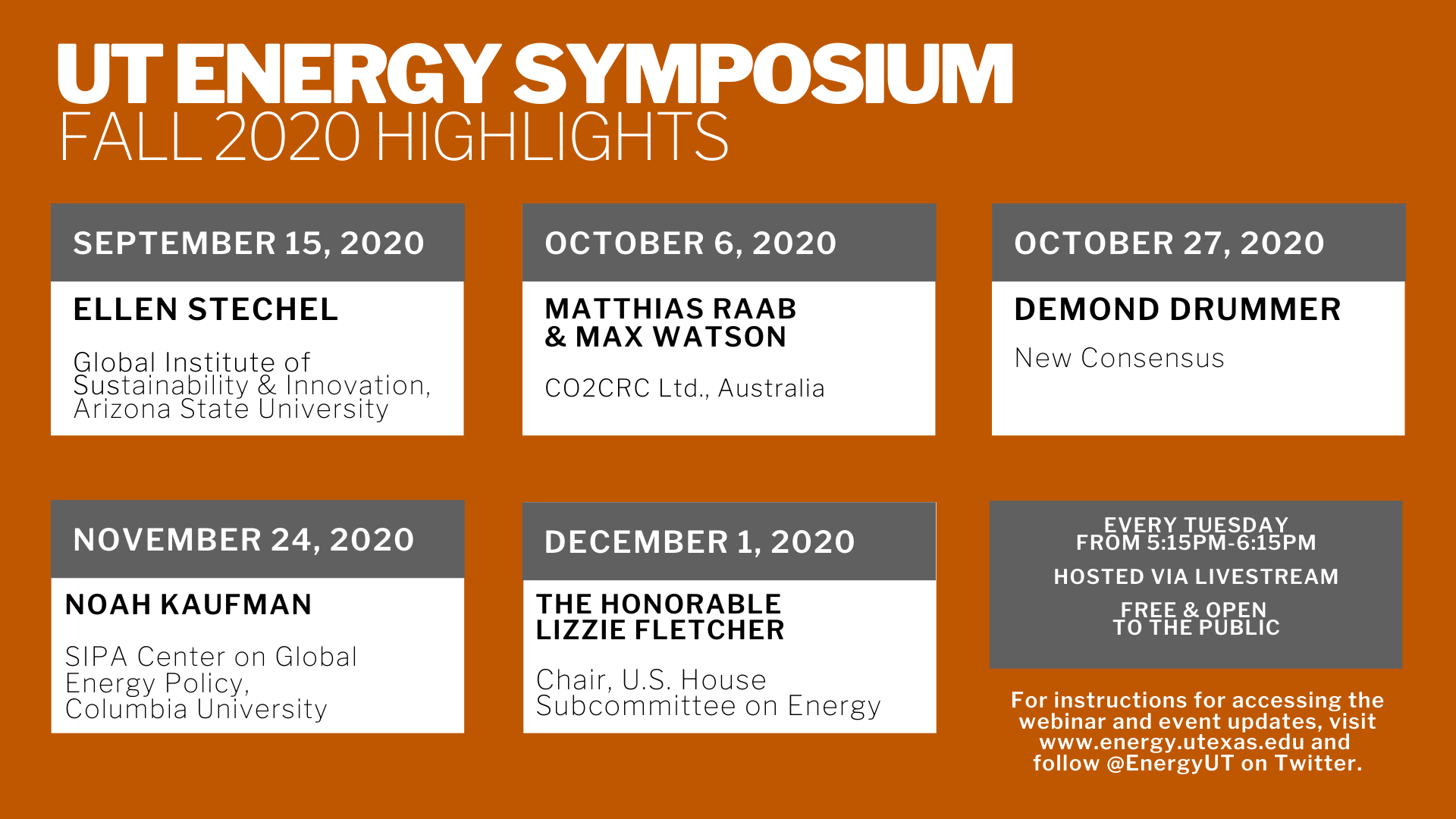 Graphic repeats highlights of speakers listed in UT Energy Symposium schedule below