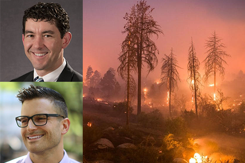 photo collage of Josh Rhodes headshot, Todd Davidson headshot and a wildfire