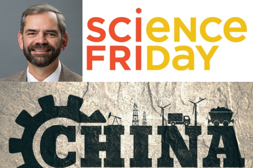 "collage of Fred Beach's face with Science Friday logo and the word ""China"" with energy-related illustrations"