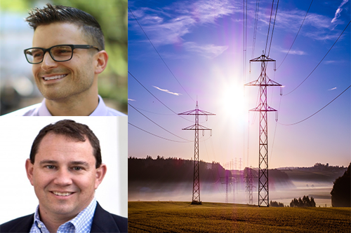 headshots of Josh Rhodes and Michael Webber next to image of sun rising through a line of transmission towers