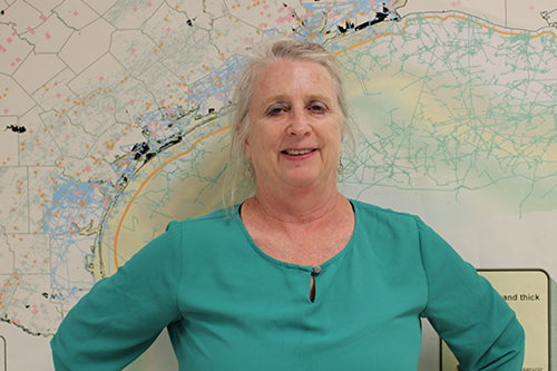 Dr. Susan D. Hovorka stands in front of a map