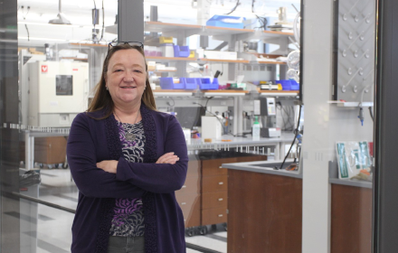 Joan Brennecke stands in her lab at UT Austin