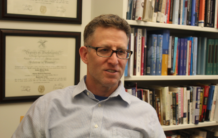 Prof Josh Busby in his office at the LBJ School of Public Affairs