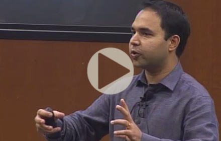 Varun Rai speaks at UT Energy Symposium