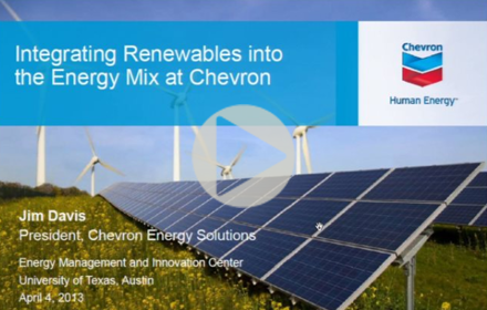 Title slide from Jim Davis' presentation at UT Energy Symposium, showing solar panels in a field of wildflowers with wind turbines in the distance
