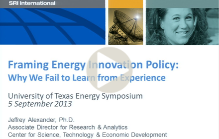 Title slide from Jeffrey Alexander's presentation at UT Energy Symposium