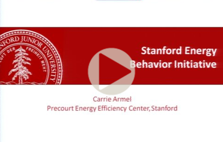 "Title slide from Carrie Armel's presentation at UT Energy Symposium, that reads ""Stanford Energy Behavior Initiative, Carrie Armel, Precourt Energy Efficiency Center, Stanford"""