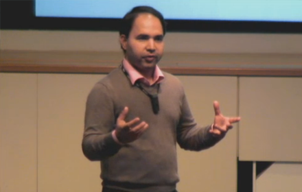 Varun Rai speaks at the UT Energy Symposium