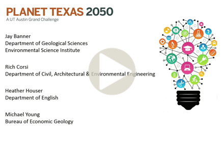 Title slide from the Planet TX 2050 presentation at UT Energy Symposium, showing an illustration of a lightbulb made of energy- and education-related icons