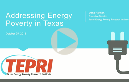 Title slide from Dana Harmon's presentation at UT Energy Symposium, with text giving presentation title, speaker name, date and with TEPRI logo and icon of electric plug