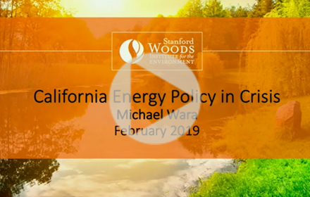 Title slide from Michael Wara's presentation at UT Energy Symposium, with text giving presentation title, speaker name, date