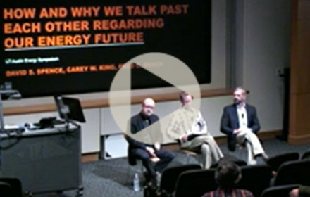 David Spence, Carey King and Fred Beach in panel discussion at UT Energy Symposium