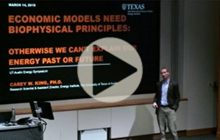 Carey King speaks at UT Energy Symposium