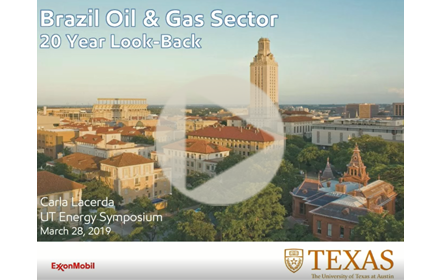 Title slide from Carla Lacerda's presentation at UT Energy Symposium, with text giving presentation title, speaker name, date over an arial view of UT campus