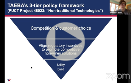 TAEBA's 3-tier policy framework: an inverted pyramid with competition at the top; regulatory incentives in the middle and utility build at the narrow bottom point