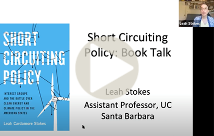 "presentation title slide showing cover of Leah Stokes' book ""Short Circuiting Policy"""