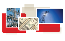 photo collage from cover of white paper, showing transmission lines and money