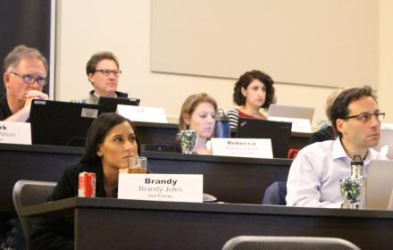 Participants in the 2016 UT Energy Journalism Workshop 2016 listen to a presentation