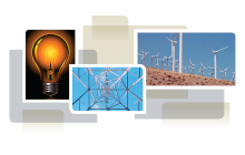 photo collage from cover of white paper, showing light bulb, transmission tower and wind turbines