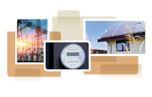 photo collage from cover of white paper, showing electricty meter, home and transmission lines