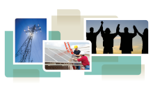 photo collage from cover of white paper, showing solar panel installation, power lines, and people holding hands