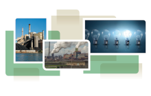 photo collage from cover of white paper, showing power plants and light bulbs