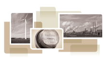 photo collage from cover of white paper, showing electricty meter, wind turbine and smokestacks