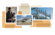 photo collage from cover of white paper, showing a family, a home and transmission lines
