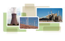 photo collage from cover of white paper, showing wind turbines, cooling tower and coal power plant