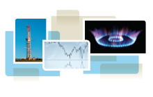 photo collage from cover of white paper, showing gas drill, a trend line, and a gas stove burner