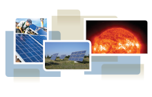 photo collage from cover of white paper, showing solar panel installation, solar array and the sun