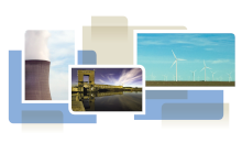 photo collage from cover of white paper, showing wind turbines, cooling tower and dam