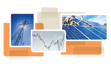 photo collage from cover of white paper, showing solar panel installation and power lines