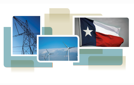 photo collage from cover of white paper, showing transmission tower, wind turbines and Texas state flag