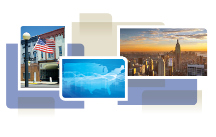 photo collage from cover of white paper, showing American flag on lamp post, map of US, city skyline