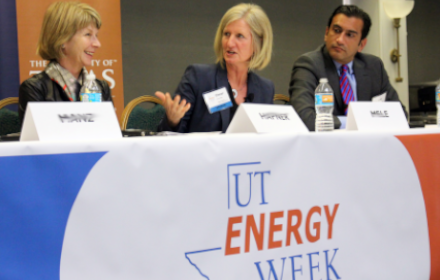 three panelists in conversation at UT Energy Week 2017
